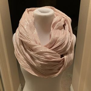 Infinity scarf, pale pink & silver shimmer